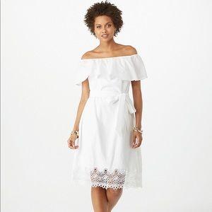 RUFFLED EYELET CROCHET OFF-THE-SHOULDER DRESS